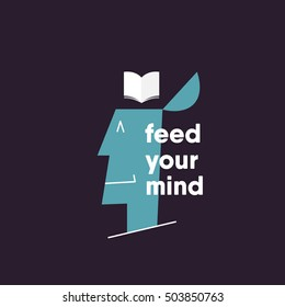 feed your mind concept. happy man thinking of reading. vector illustration. eps 10