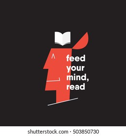 feed your mind. reading concept. happy man thinking of reading. open minded man. vector illustration. eps 10