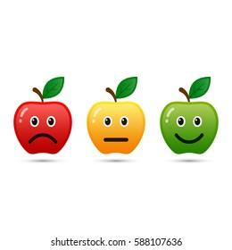 Feedback apple emoticon flat design icon set, positive, neutral and negative, vector.