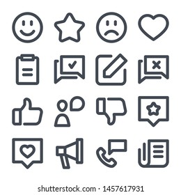 Feedback bold line icon set. Review outline icons.