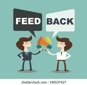 Feedback concept - businessman talk feedback Speech Bubble