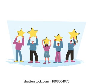 Feedback concept. Client review. People holding stars in their hands. Service rating. Satisfaction level. Consumer product review Vector flat illustration.