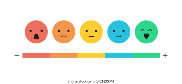 Feedback concept emoticon flat design icon set isolated on white background