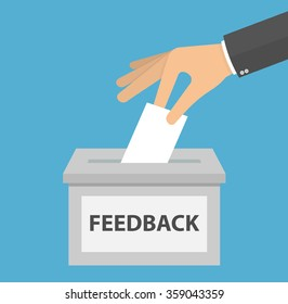 Feedback concept. Hand putting or inserting blank piece of paper in the feedback box. flat design