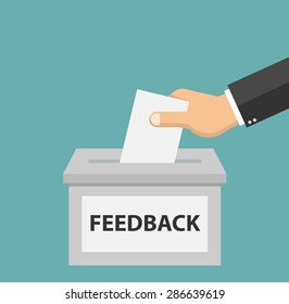 Feedback concept - Hand putting paper in the feedback box - flat style