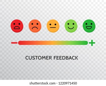 Feedback design with emotions scale background. Rating satisfaction concept. Set of feedback icons in form of emotions for mobile app and web. Excellent, good, normal, bad, awful. Vector illustration.