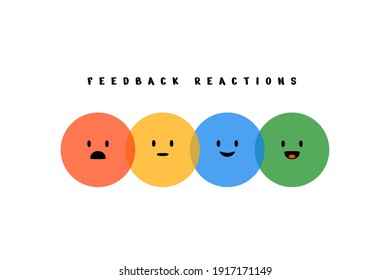 Feedback emoji reactions. Round colorful emotions, cartoon emoticons happy sad laughing smiley faces. Vector illustration
