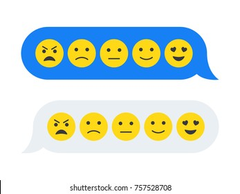 Feedback emoticon emoji smiley icon in chat bubbles. Level of satisfaction rating. Feedback in form of emotions in pop-up. Flat vector illustration