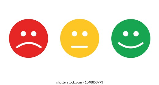 Feedback emoticon flat design icon set from negative to positive - Vector