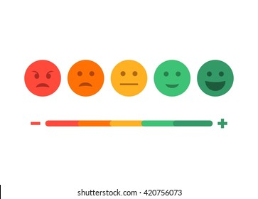 Feedback emoticon flat design icon set