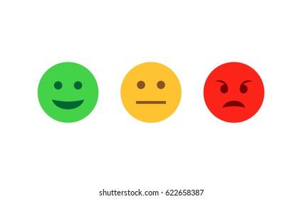 Feedback emoticon flat design icon set. Positive, negative and neutral faces collection