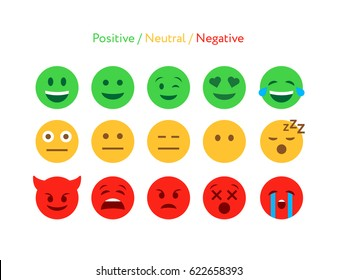 Feedback emoticon flat design icon set. Positive, negative and neutral faces collection