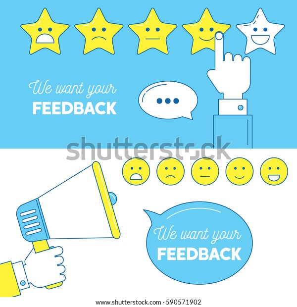 Feedback emoticon scale banners. We need your feedback illustration with hands and loudspeaker