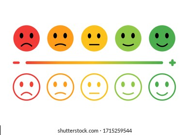 Feedback in form of emotions. Emotions Range Vector Icon. Five kinds of customized: excellent, good, normal, bad, terrible. Rating satisfaction.