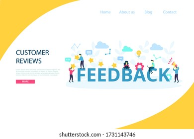 Feedback and giving five stars concept with working characters. Idea of customer reviews and advice service. Vector flat cartoon illustration isolated on white background