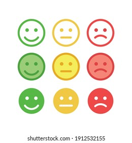 Feedback happy, angry face vector set. Positive, negative and neutral faces with a smile.
