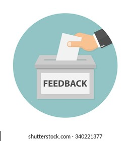 Feedback icon concept. Hand putting paper in the feedback box. flat style