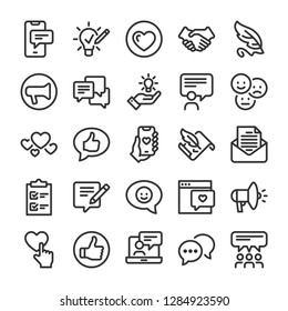 Feedback icons set. Comments and evaluation symbols. Line style