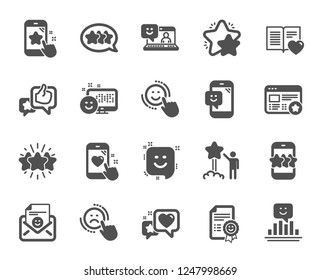 Feedback icons. Set of User Opinion, Customer service and Star Rating icons. Testimonial, Positive negative emotion, Customer satisfaction. Social media feedback, star rating technology. Vector