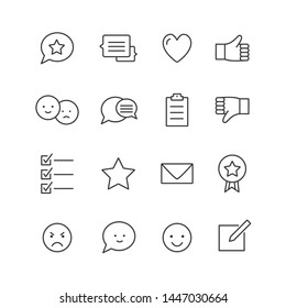 Feedback icons Thin line icons set of testimonials and customer relationship management isolated on white backgroind