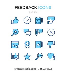 Feedback icons. Vector line icons set. Premium quality. Simple thin line design. Modern outline symbols, pictograms.