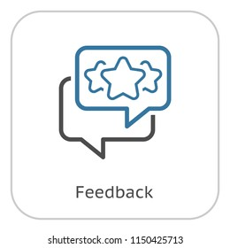Feedback Line Icon. Client Satisfaction symbol. Customer Relationship Management. Isolated UI element.