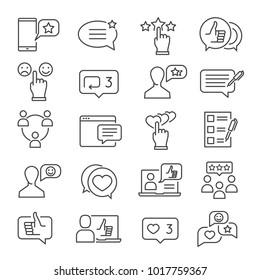 Feedback line icon set. Business information about reactions to a product, review, statements of opinion in speech bubbles. Vector line art feedback illustration
