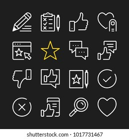 Feedback line icons. Modern graphic elements, simple outline thin line design symbols. Vector icons set