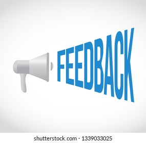 feedback loudspeaker message isolated over a white background