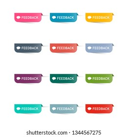 Feedback Paper Icons Set. Colorful Vector Web Labels Collection.