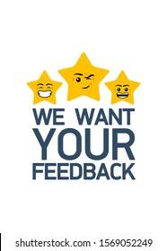 feedback rating emoji stars. Flat design Online Review. Customer reviews, emoticon rating, classification concept. Emoji rating system Vector Illustration. Enjoying app. Rate us vector illustration.