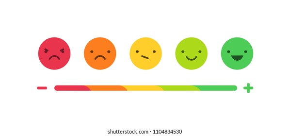 Feedback or rating scale with smiles representing various emotions arranged into horizontal row. Customer's review and evaluation of service or good. Colorful vector illustration in flat style