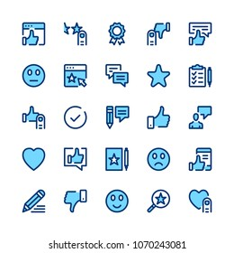 Feedback, recommendation, testimonials, customer review line icons set. Modern graphic design concepts, simple symbols. Minimal thin line design. Premium quality. Pixel perfect. Vector outline icons