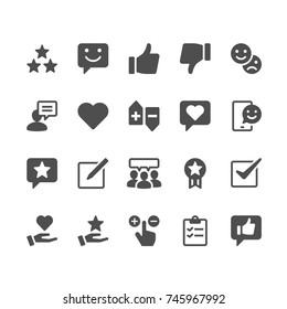 Feedback and review glyph icons