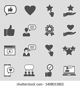 Feedback And Review Icons. Sticker Design. Vector Illustration.