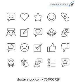 Feedback and review line icons. Editable stroke. Pixel perfect.