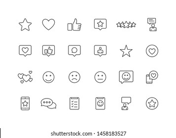 Feedback and Review web icons in line style. Star Rating, Emotion symbols. Vector illustration.