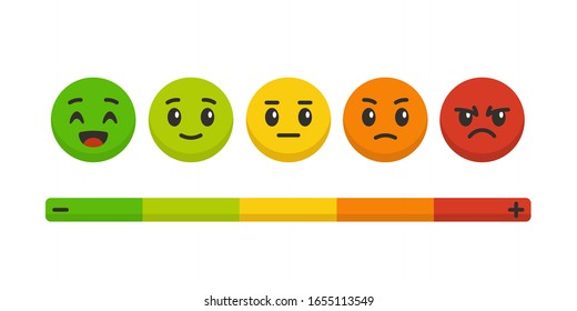 Feedback scale. Rating satisfaction, colored emotional balls set. Excellent, good and normal, bad and awful, customers survey vector communication emotion concept