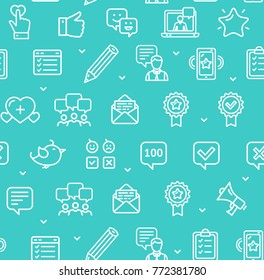 Feedback Seamless Pattern Background on a Blue for Business and Service Include of Megaphone and Pencil. Vector illustration