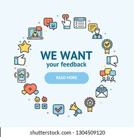 Feedback Signs Round Design Template Color Thin Line Icon Concept Frame or Border for Text. Vector illustration