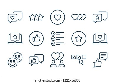 Feedback and Testimonials related line icon set.