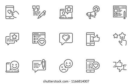 Feedback and Testimonials Vector Line Icons Set. Customer Relationship, Appreciations, Comments, Reviews. Editable Stroke. 48x48 Pixel Perfect.