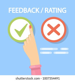 Feedback tick and cross buttons for rating.