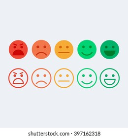 Feedback vector concept. Rank, level of satisfaction rating. Feedback in form of emotions, smileys, emoji. User experience. Review of consumer.
