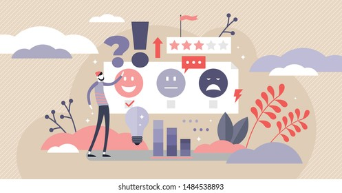 Feedback vector illustration. Flat tiny opinion research persons concept. Customer satisfaction and quality survey method. Stars and smileys signs consumer as poll, rating and choice review symbols.