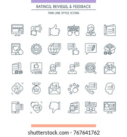 Feedbacks and ratings icon set. Review on customer service. Testimonials Related. Modern thin line icons. Vector illustration