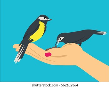 feeding bird with one hand flat illustration