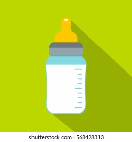 Feeding bottle icon. Flat illustration of feeding bottle vector icon for web on green background