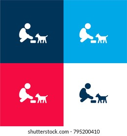 Feeding a dog four color material and minimal icon logo set in red and blue