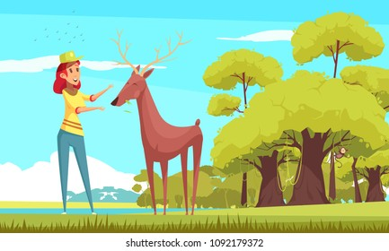 Feeding of forest animal, smiling girl giving food to deer on blue sky background cartoon vector illustration